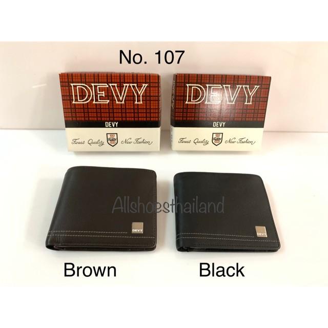 ◑◇✵กระเป๋าสตางค์ Devy no. 107 หนังแท้ สีดำ และ สีน้ำตาล