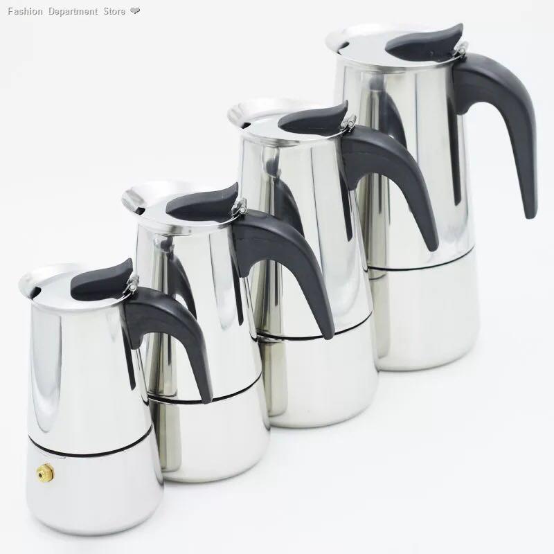 ✨ข้อเสนอพิเศษ⊕✎❀OMUDA_SHOP กาต้มกาแฟสดแบบพกพาสแตนเลส ขนาด 6 ถ้วยเล็ก 300 มล. หม้อต้มกาแฟแบบแรงดัน เครื่องทำกาแฟสด 300ml