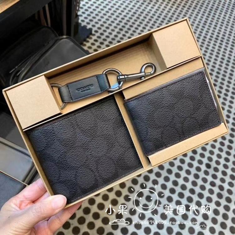 ✴㍿Shanghai Spot US ซื้อโดยตรง Coach กระเป๋าสตางค์ใบสั้นผู้ชายกระเป๋าใส่บัตรพวงกุญแจกล่องของขวัญ f64118