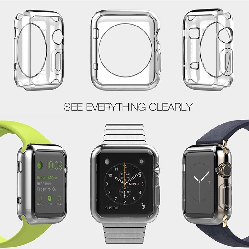 Apple Watch Case For Watch 38mm 40mm 42mm 44mm TPU Screen Clear Ultra-thin For iWatch Series SE 6 5 4 3 2 1 Cover