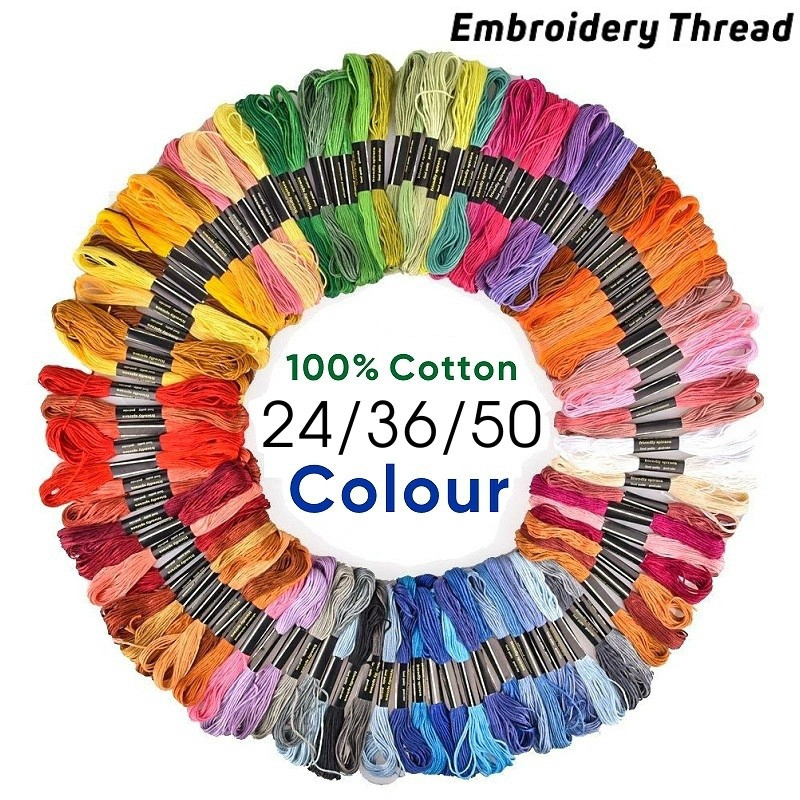 50pcs Colorful Cotton Polyester Embroidery Thread Cross Stitch Embroider Floss