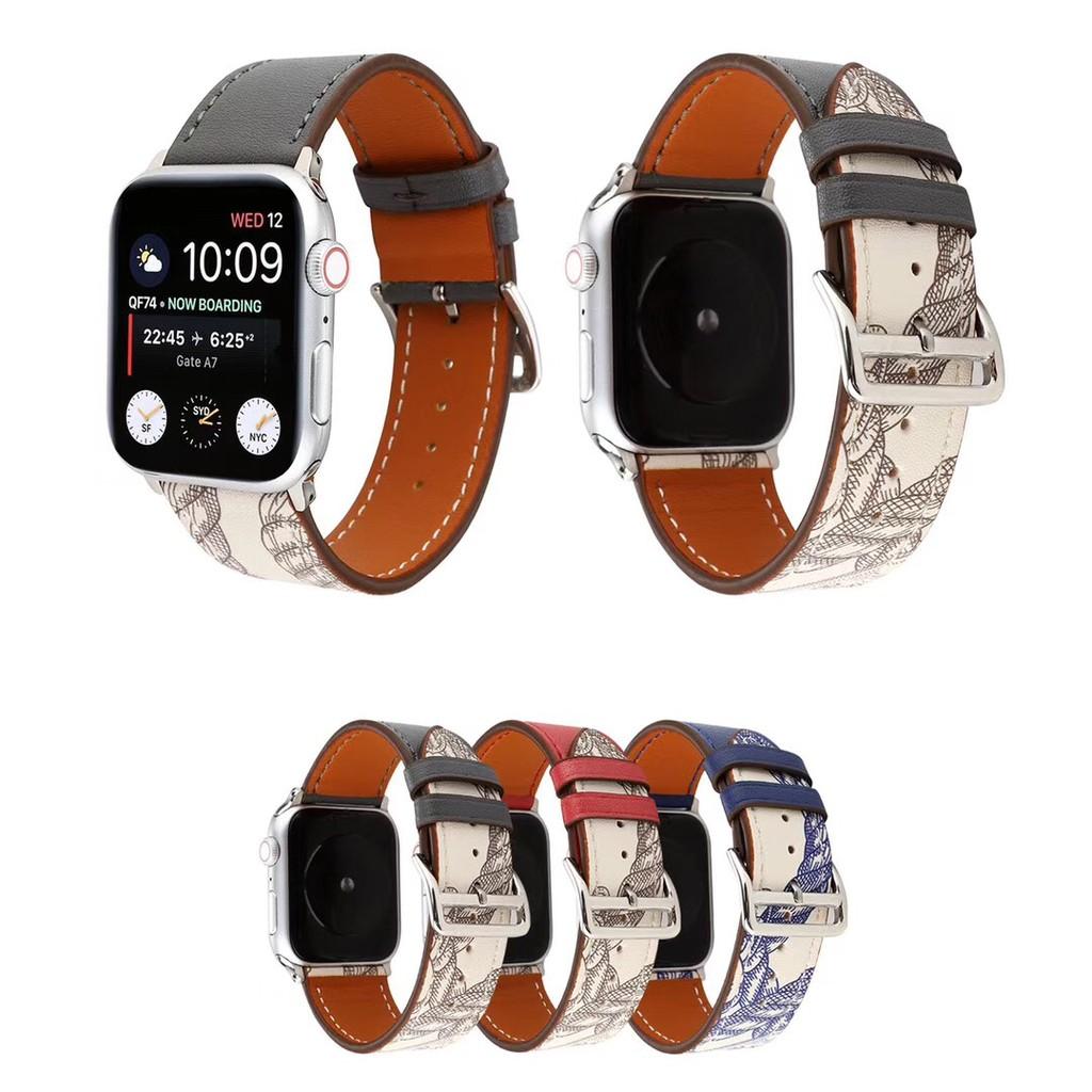 สายนาฬิกา Apple Watch, สายนาฬิกาทดแทน Apple Watch เหมาะสำหรับ Apple Watch series 1/2/3/4/5 สายหนัง Hermes (วงกลมเดียว)