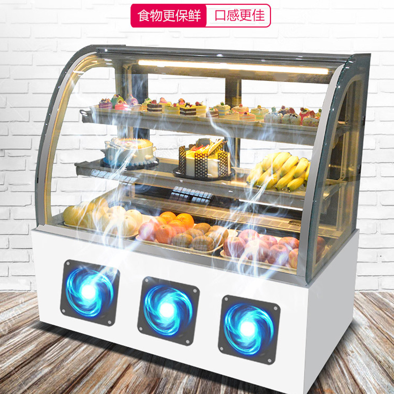 ตู้เค้กตู้แช่แข็งตารางโค้งตู้แช่แข็งผลไม้ขนมขนมปังขนาดเล็กเชิงพาณิชย์อากาศเย็นตู้เก็บตู้โชว์