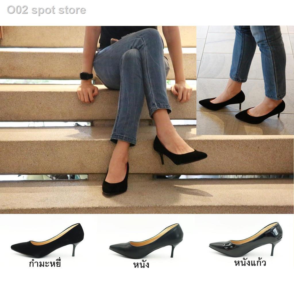 ∋รองเท้า 9696 รองเท้าผู้หญิง รองเท้าคัชชู หัวแหลม ส้นสูง รองเท้าคัชชูสีดำ รองเท้าส้นสูง 2.5 นิ้ว FAIRY