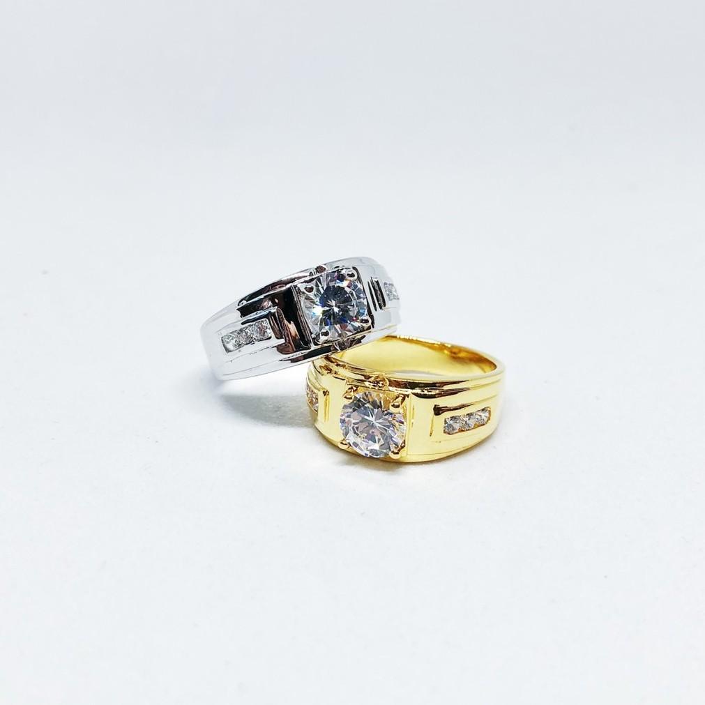 แหวน unisex เพชร cz ชุบทองไมครอน และทองคำขาว ราคาพิเศษ