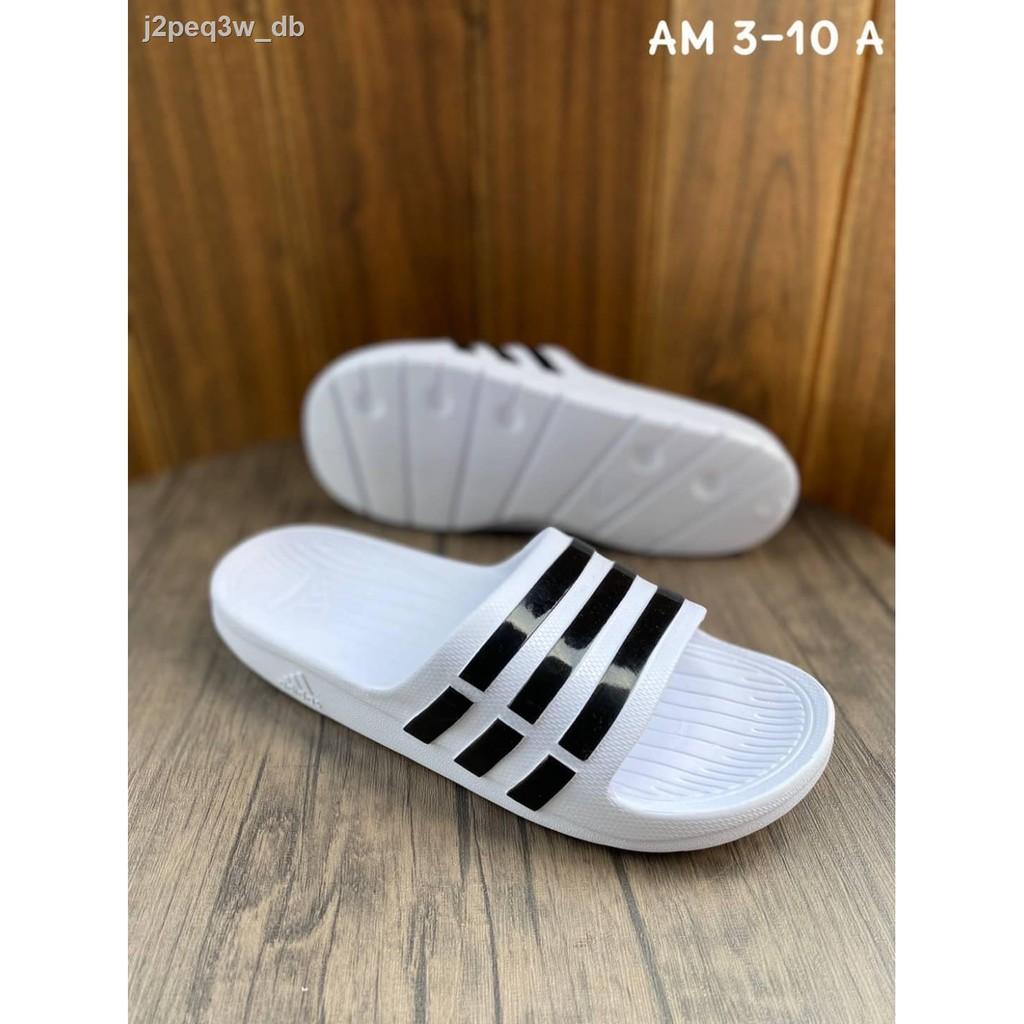 แฟชั่นผู้หญิง▫【แท้ 100% 】รองเท้าแตะ Adidas Duramo Slide size: 3-10 (UK) มี 7 สีแบบสวมสบายใส่รองเท้าแตะเเบบรองเท้าส้นเ