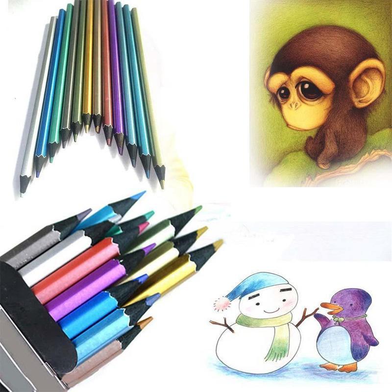 12Pcs Metallic Non-toxic Colored Drawing Pencils 12 Color Drawing Sketching