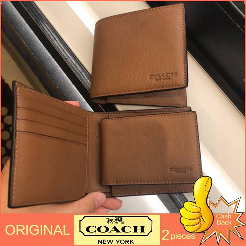 กระเป๋าแท้พร้อมส่ง🇺🇸💯% Coach กระเป๋าสตางค์ผู้ชาย F74991 / หนังลูกวัว / กระเป๋าสตางค์ใบสั้น / กระเป๋าสตางค์