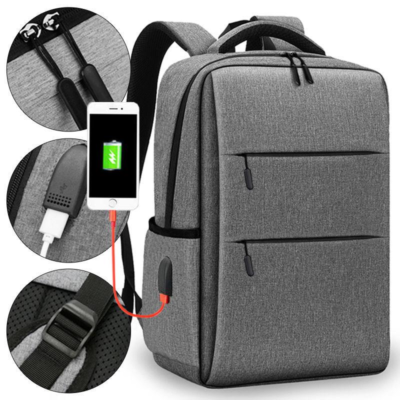 ของใหม่15นิ้วชาร์จกระเป๋าเป้สะพายหลังสำหรับผู้ชายและผู้หญิง14-กระเป๋าเป้ใส่แล็ปท็อปขนาดนิ้ว15.6กระเป๋าเดินทางธุรกิจไหล่