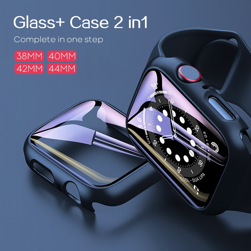 Tempered Glass+Case Screen Protector PC Bumper Case for Apple watch series 6 SE 5 4 3 Cover slim for iWatch 6 5 frame 40mm 44mm 38MM 42MM