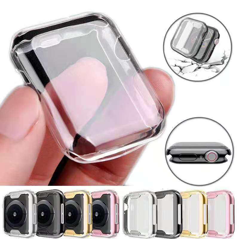 Apple Watch Case 6 SE 5 4 3 2 1 42MM 38MM 40MM 44MM 360 Slim Watch Cover Soft Clear TPU Screen Protector iWatch Series 3 2 1 Series