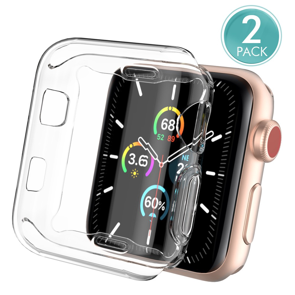 Apple Watch Case Apple Watch Series 5 4 3 2 1 38MM 42MM 44MM 40MM Transparent Clear Soft Protector Cover 2pieces XaWR