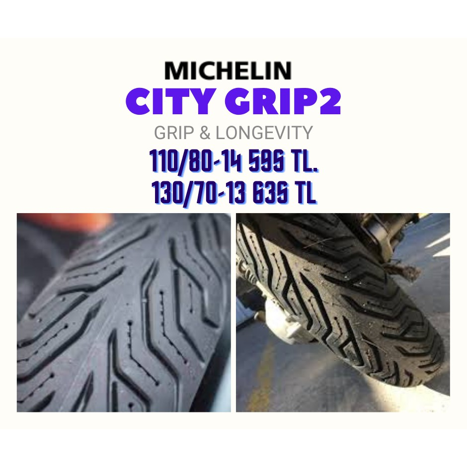Michelin รุ่น City Grip2 ชุดยางมอเตอร์ไซด์ (หน้า+หลัง) ขนาด 110/80-14 TL +130/70-13 TL จำนวน 1 ชุด (รวม 2 เส้น)