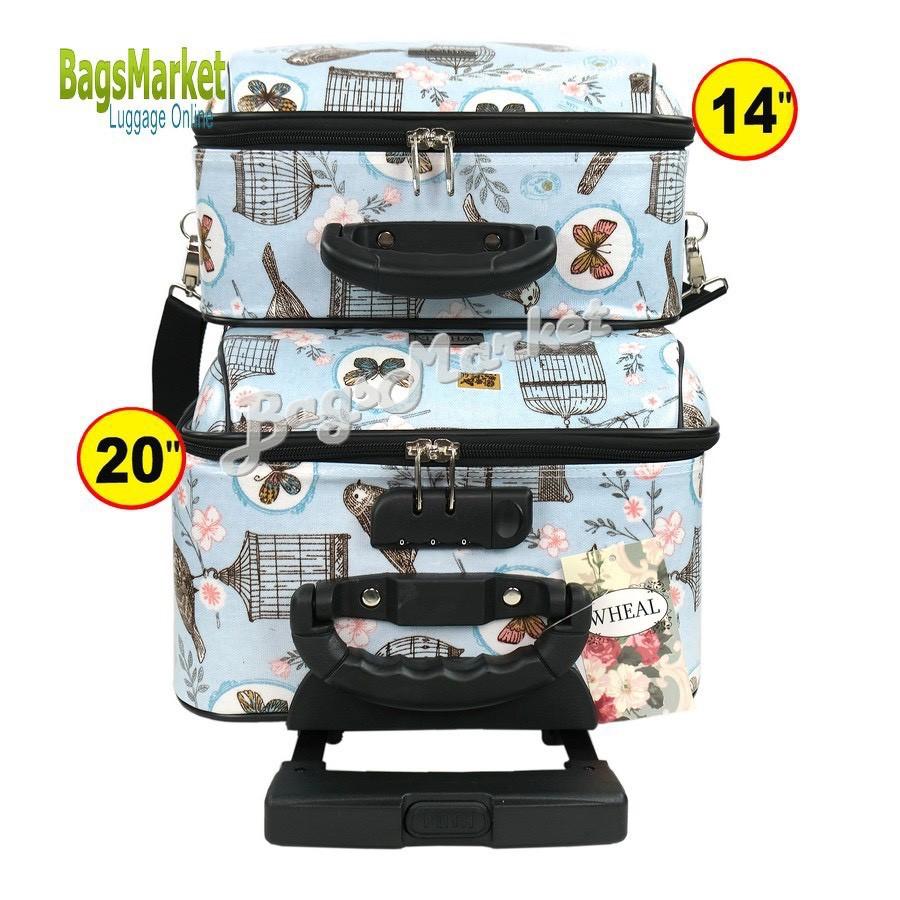 ¤◘BagsMarket Luggage 🔥 กระเป๋าเดินทางล้อลากขนาด 20/14 นิ้ว เซ็ท 2 ใบ ลายการ์ตูน Snoopy NavyBlue