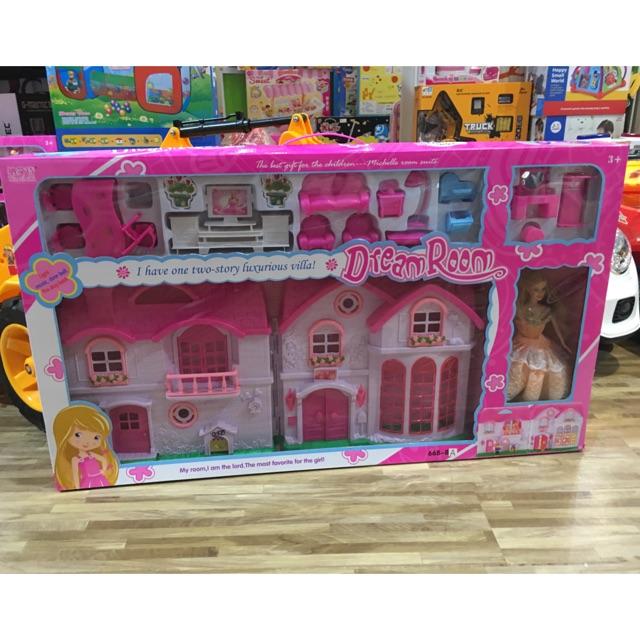 บ้านตุ๊กตาบาร์บี้หลังใหญ่ พร้อมตุ๊กตาบาร์บี้เจ้าหญิงแสนสวย