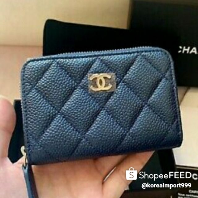 Chanel Petrol Dark Blue Caviar Zippy Coin Purse Card Holder Wallet