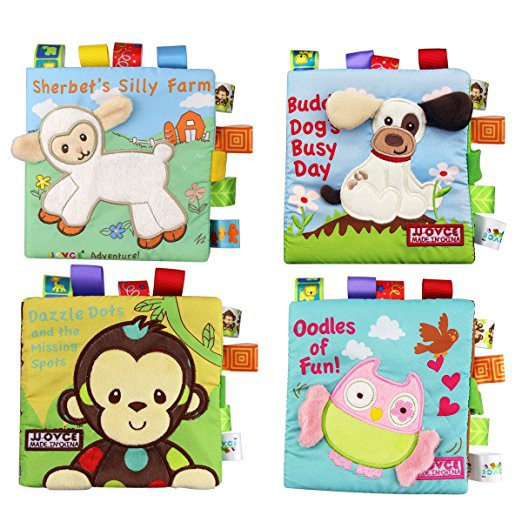 4Books Fabric Baby Cloth Books Non-Toxic Soft First Book Early Educational Toys