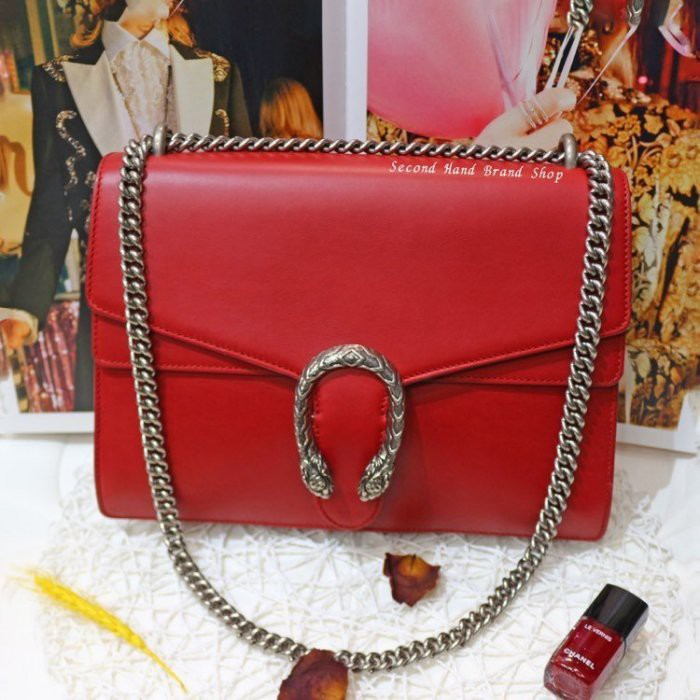 เรือธงมือสอง GUCCI DIONYSUS Bacchus Red Double Tiger Head Buckle Handbag Shoulder Bag Dual Purpose Bag (Zhongyou Store)