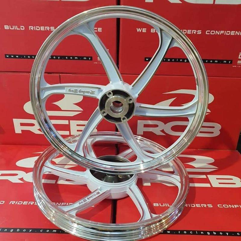 ล้อแม็ก(Racing Boy) ขอบ 17 NOUVO-MX/MIO-110/FINO-110 น็อตจานดิสหน้า 4รู สีขาวปัดก้าน รหัสสินค้า 0114452