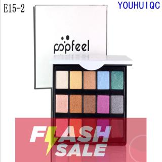 Review COD ORI POPFEEL Mini 15 Color Eyeshadow Set Pearly Matte Earth Color Candy Eyeshadow Palette makeup