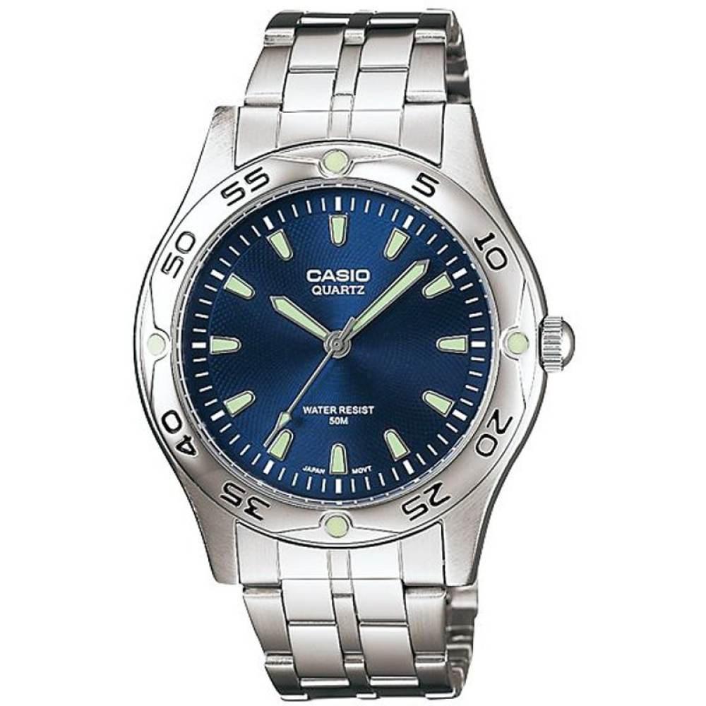 นาฬิกา รุ่น Casio นาฬิกาข้อมือ ผู้ชาย สายสแตนเลส รุ่น MTP-1243D-2A ( Blue/Silver ) จากร้าน MIN WATCH