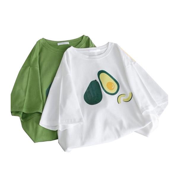 พร้อมส่ง🥑Avocado tee เสื้อยืดผ้าคอนตอนลายอะโวคาโด