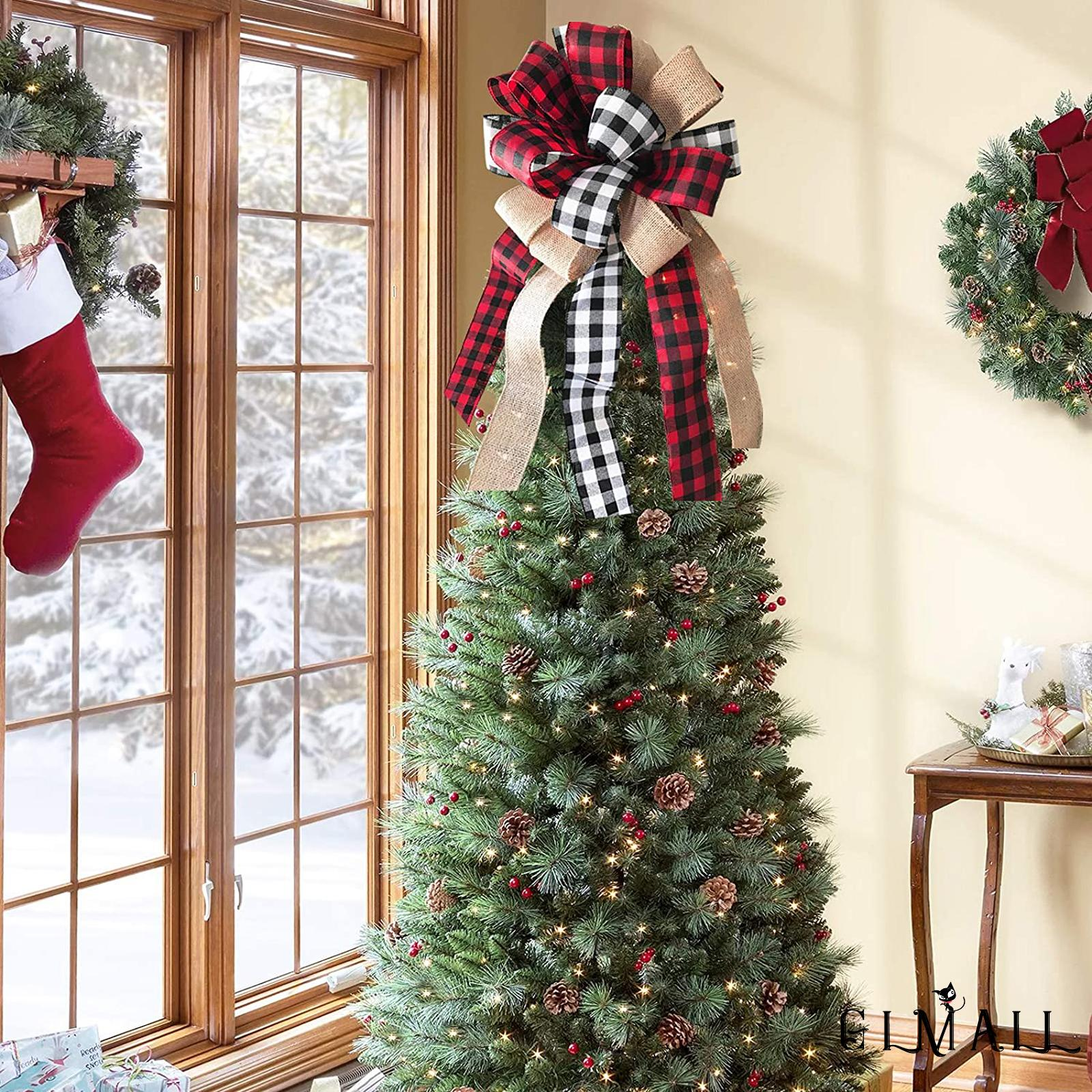 Gml Christmas Tree Topper Rustic Buffalo Plaid Decorative Bow For Holiday Home Party Decor Shopee Thailand