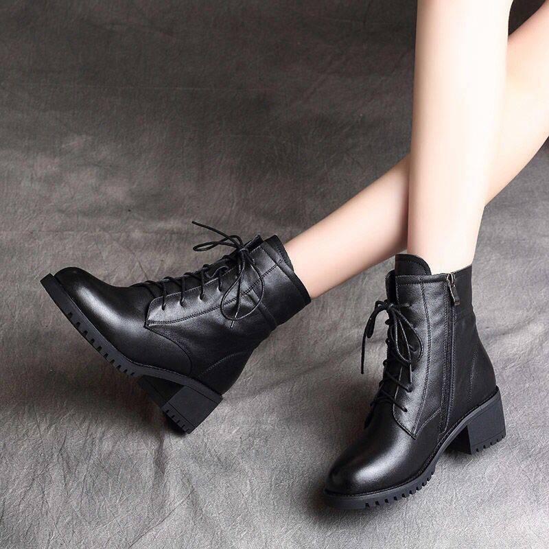 รองเท้าส้นสูงไซส์ใหญ่!รองเท้าคัชชู!รองเท้าส้นสูงมือสอง! ฤดูหนาว 2020 ใหม่มาร์ตินรองเท้าผู้หญิงหนังนุ่มบวกกำมะหยี่สไตล์อังกฤษส้นหนาส้นเตี้ยรองเท้าบูทผ้าฝ้ายเด็ก