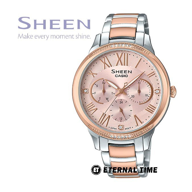 Casio Sheen นาฬิกาข้อมือผู้หญิง สายสแตนเลส รุ่น SHE-3058SPG,SHE-3058SPG-4A - สีเงินสลับสีโรสโกลด์