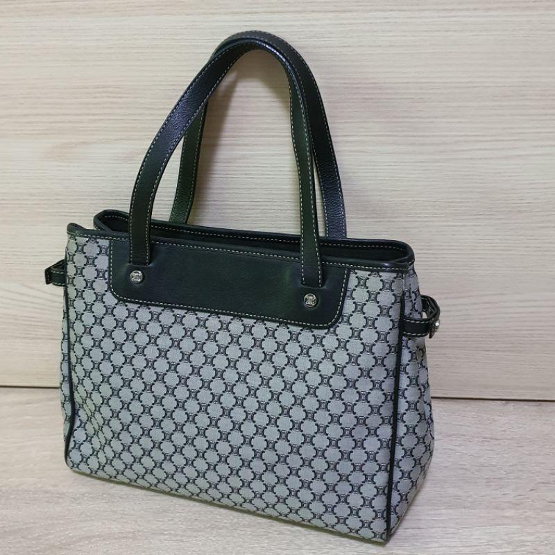 USED กระเป๋าถือซีลีนวินเทจทรงโท้ท Celine Vintage Gray with Canvas Fabric Macadam Tote Bag