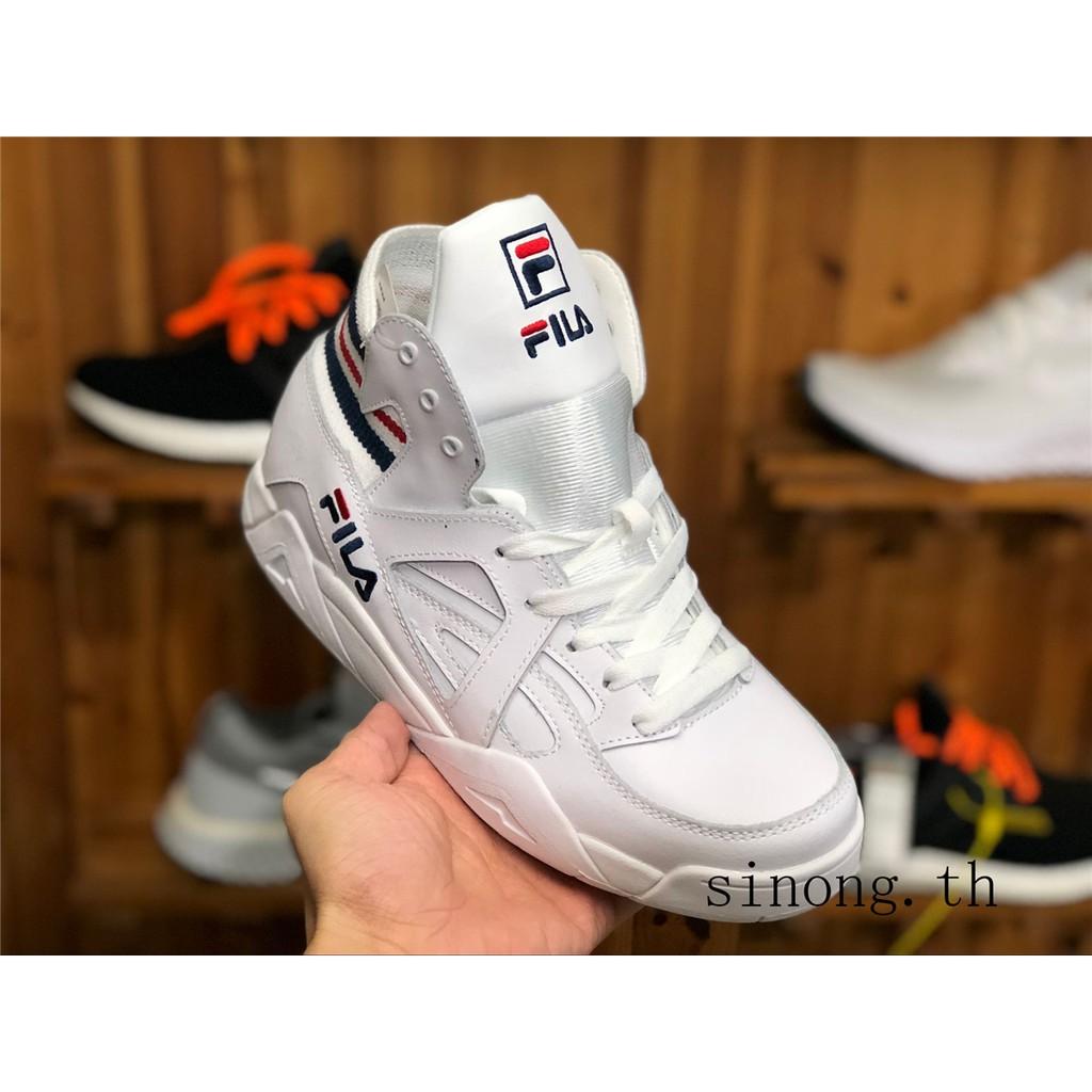 TOP Fila Fila Cage tc ผู้ชายและผู้หญิงรองเท้ากีฬารองเท้าลำลองสูงสวมใส่รองเท้าวิ่ง FS1HTA1022 หางน้ำเงินแดง รองเท้าวิ่ง