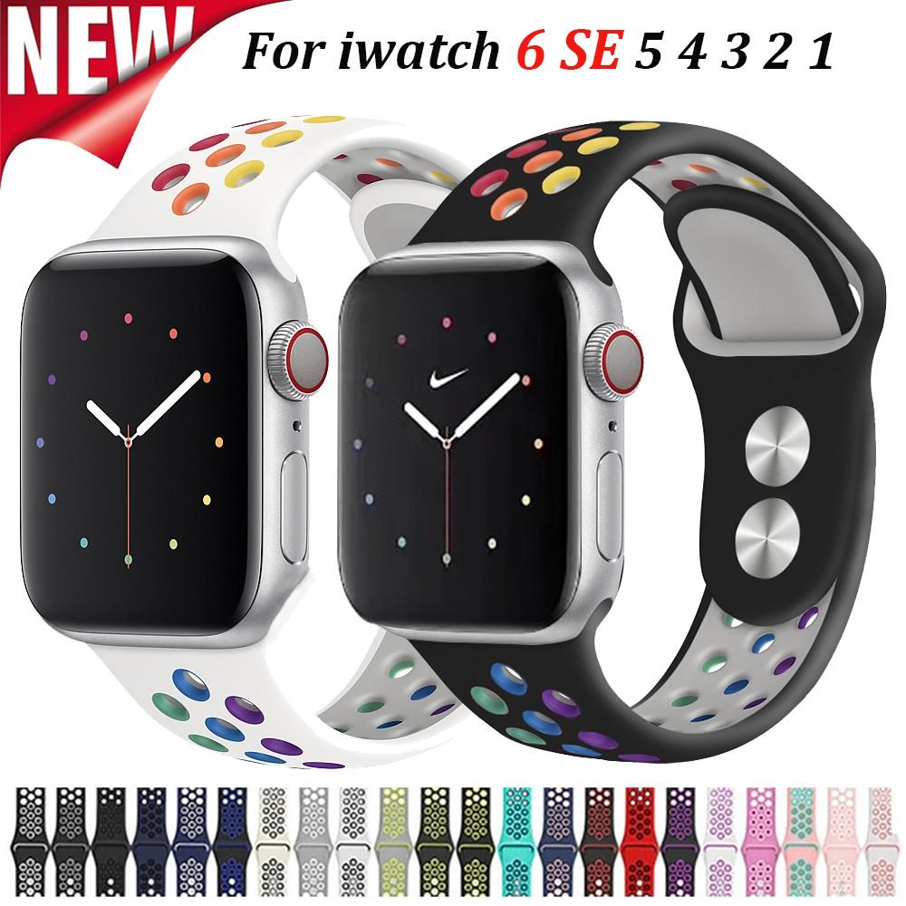 สายนาฬิกาข้อมือซิลิโคนสําหรับ Apple Watch Band Series Se 6 5 4 3 2 1 Band 38 มม. 40 มม. 42 มม. 44 มม.