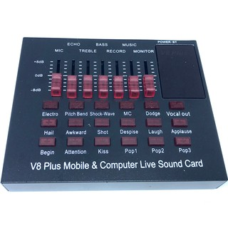 Review V8 PLUS Audio Live Sound Card for Phone Computer USB Headset Microphone Webcast-(Bluetooth)มินิเอฟเฟคไมค์