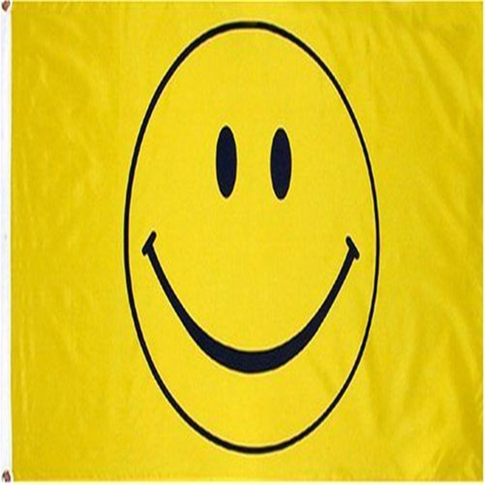 Smiley Face Pink Flag 5Ft X 3Ft Party Festival Smile Banner With 2 Eyelets New