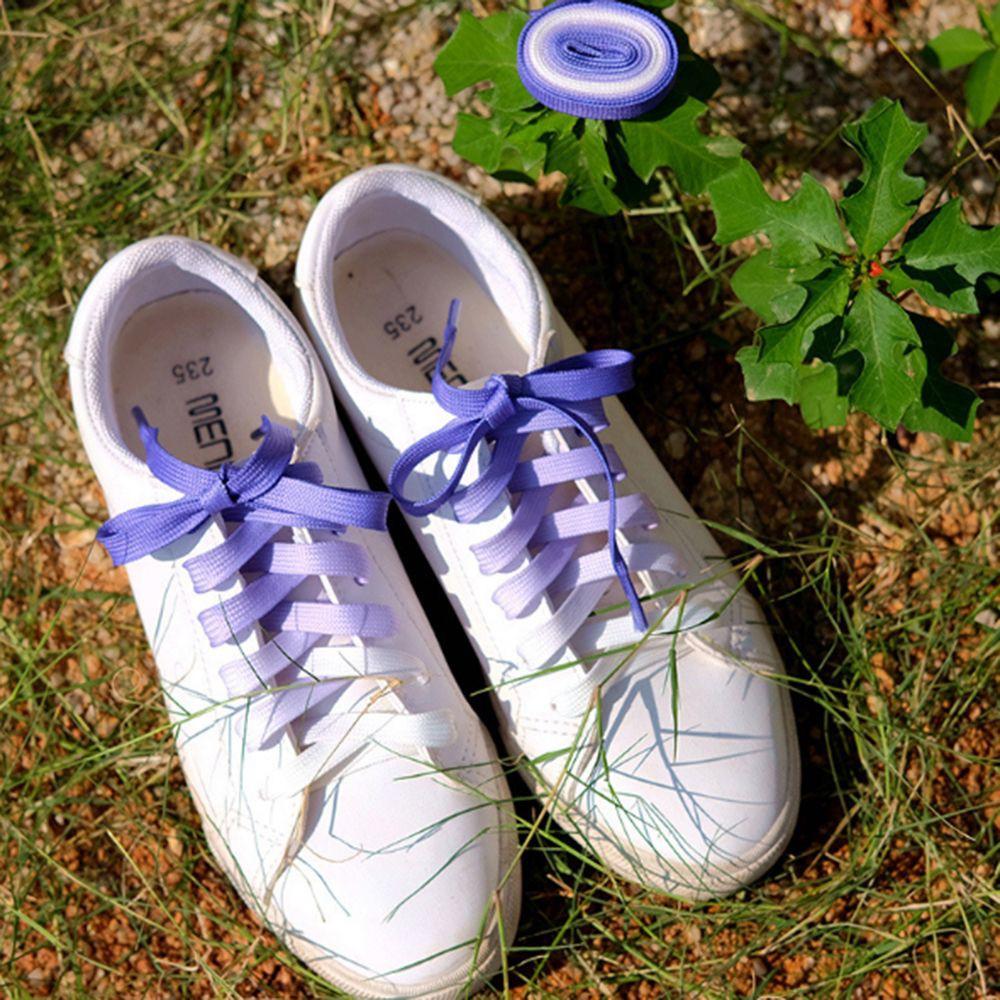 1PAIR Fashion Unisex Flat Canvas Athletic Sports Candy Color Gradient Shoelaces Shoe