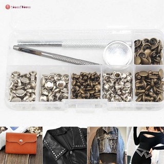Review TF▶ 120 Sets Leather Craft Repair Double Cap Rivets Tubular Metal Studs Fixing Tools