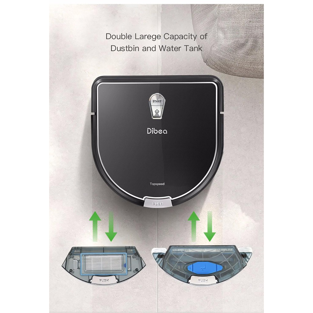 Dibea D960 หุ่นยนต์ดูดฝุ่น Smart Robot Vacuum Cleaner with Wet Mopping Function ฟังก์ชั่นดูดฝุ่นและถูพื้น NHD4