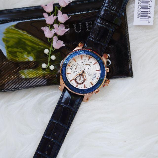🎀 (สด-ผ่อน) นาฬิกา Guess Mens Guess Pinnacle Chronograph Watch W0673G6 สายหนังสีดำ หน้าปัด สีขาว 46 มิล