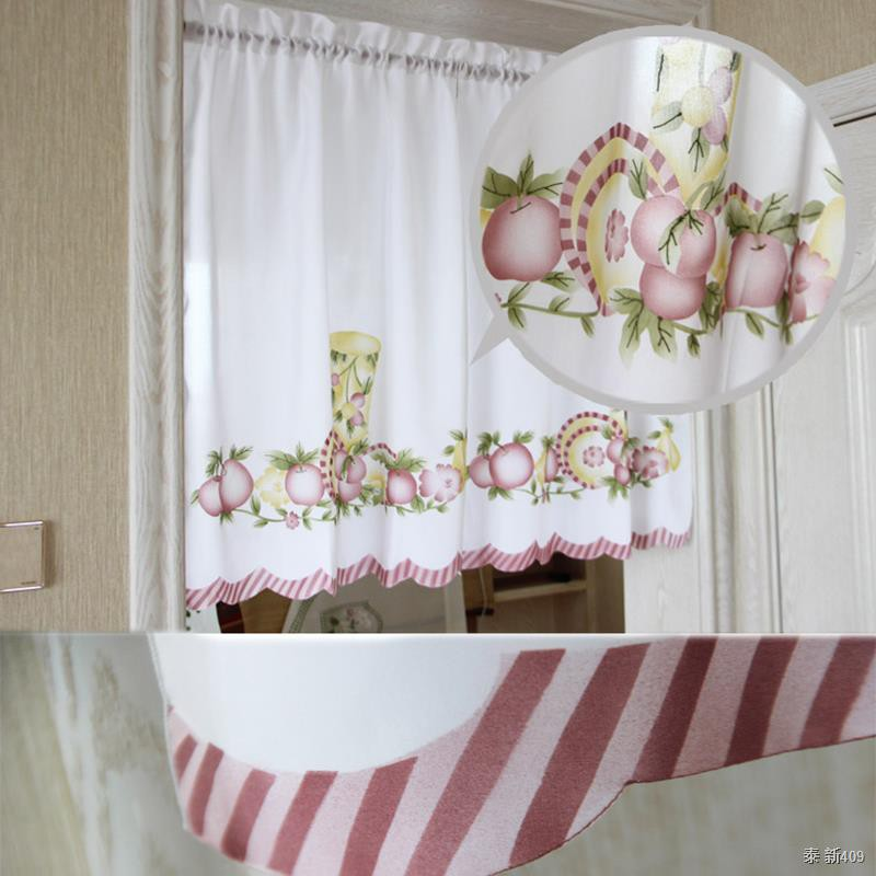 New Cafe Short Kitchen Curtains Fruits Design Embroidery Lace Japanese Door Curtain Cotton And Linen Blending Window Cur Shopee Thailand