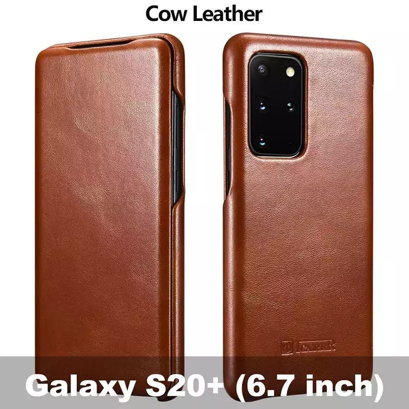 เคส Galaxy S20 ultra S10 S9 Note 8 เคสฝาพับหนังแท้ Cowhide Genuine Leather Flip Case iCarer