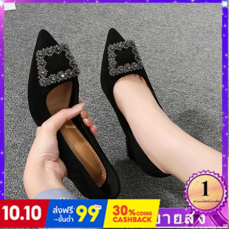 ⭐👠รองเท้าส้นสูง หัวแหลม ส้นเข็ม ใส่สบาย New Fshion รองเท้าคัชชูหัวแหลม  รองเท้าแฟชั่นรองเท้าทำงานหญิงสีดำชี้กับรองเท้าส้