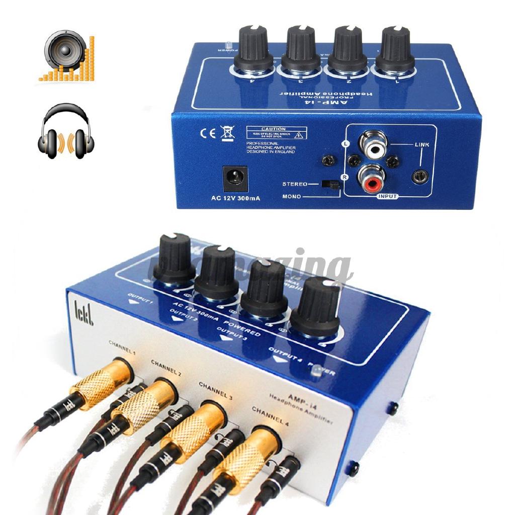Ready Stock Professional Mini 4 Channel Earphone Headphone Audio Stereo Amp Amplifier
