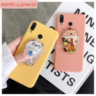 Review Huawei Y6 Y5 Y7 Y9 2018 Y9 2019 Honor 8X V10 20 Pro 9 Lite 10 Bling Cartoon Squishy Bear Glitter Liquid Soft Case Cover