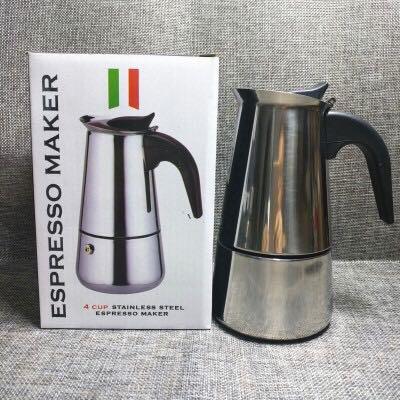 No.33X_  กาต้มกาแฟสดแบบพกพาสแตนเลส ขนาด 6 ถ้วยเล็ก 300 มล. หม้อต้มกาแฟแบบแรงดัน เครื่องทำกาแฟสด 300ml