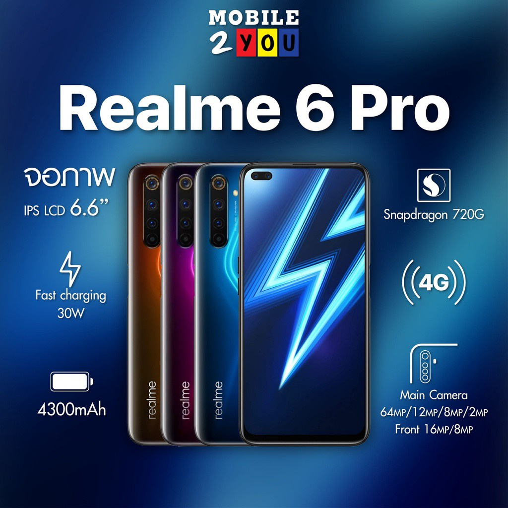 Realme 6pro 8/128 จอเทพ สมาร์ทโฟน6เลนส์ ใช้งานลื่น  #เครื่องศูนย์ไทย มือถือ ถูก mobile2you