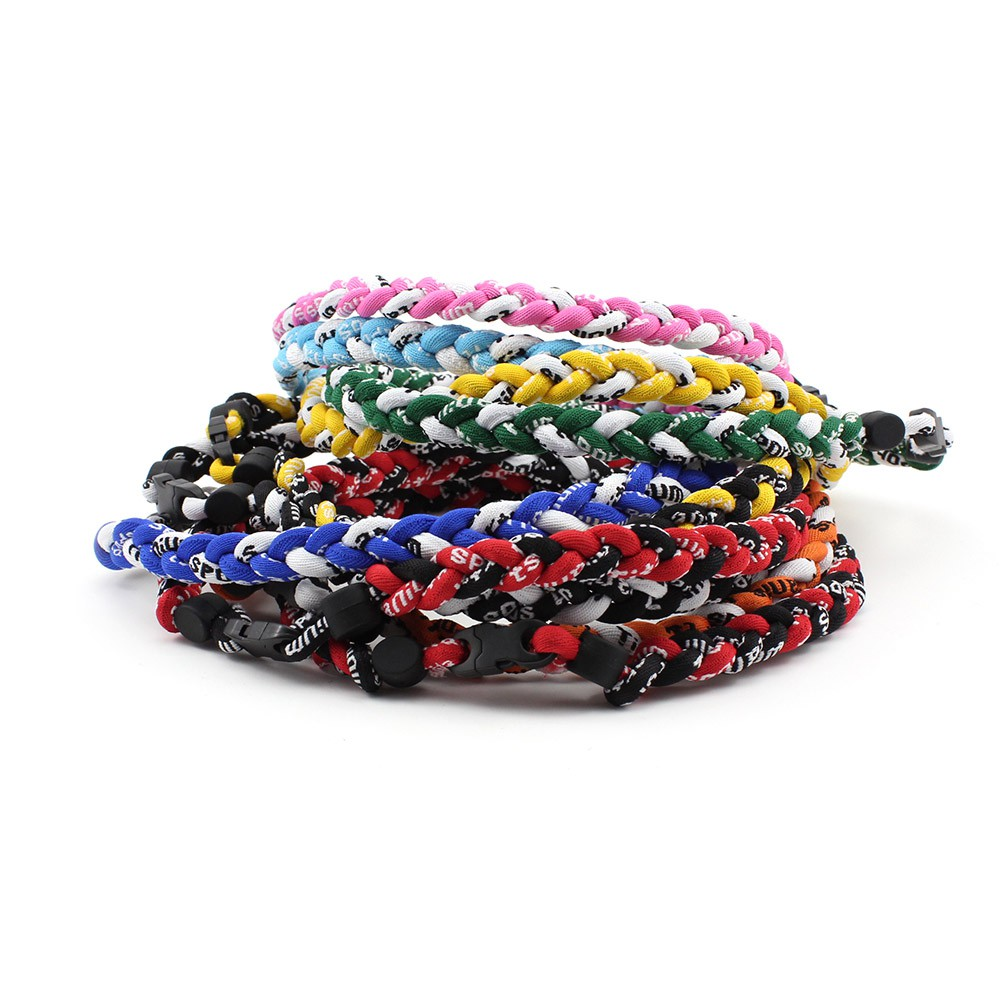 "3 Rope 20 /"" 50cm Titanium Ionic Necklace Baseball Soccer Sports Tornado Braid"