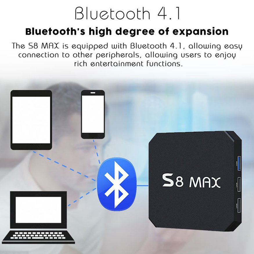 S8 MAX TV BOX 4GB RAM 32GB ROM Media Player 2 4G&5G WIFI BT 4 1 for Android