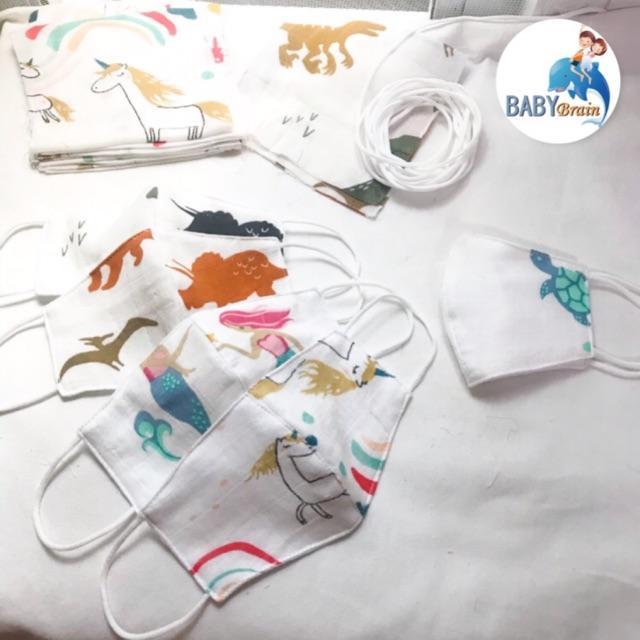ผ้าปิดจมูกเด็ก 3-7ขวบ เนื้อมัสลินทรง3D (สุ่มคละลาย)