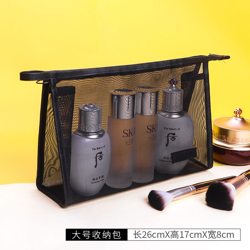 ✼﹊[ผลิตภัณฑ์ให้ม] การเดินทางที่เรียบง่ายและพกพาขนาดเล็ก female cosmetic bag กระเป๋าใส่เครื่องสำอางลายลูกไม้ใบใหญ่จุได้