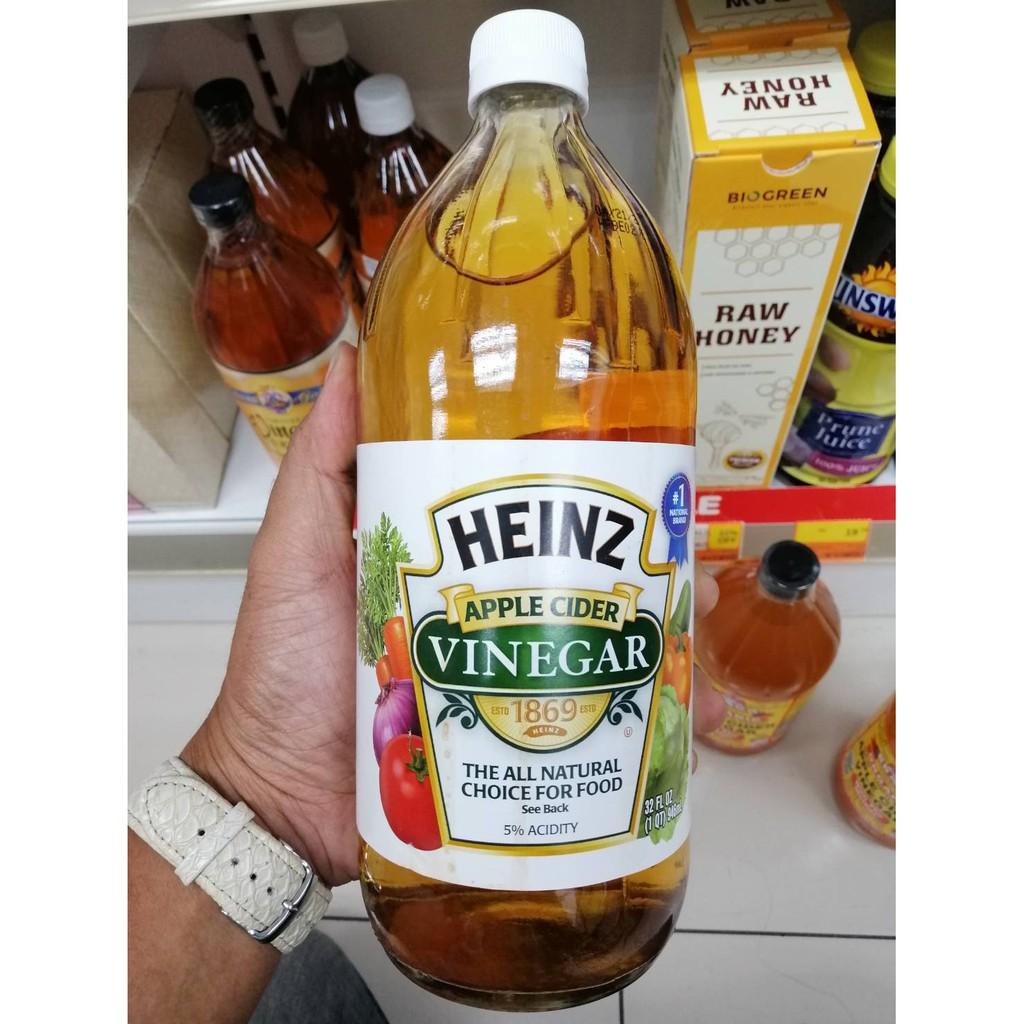 ขวดใหญ่ 946ml HEINZ organic Apple cider vinegar น้ำส้มสายชูหมักจาก แอปเปิ้ลแอปเปิ้ล